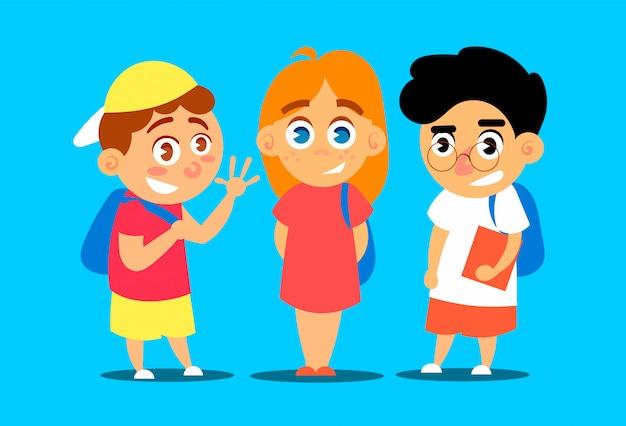 Drie schoolgaande kinderen gaan naar school.