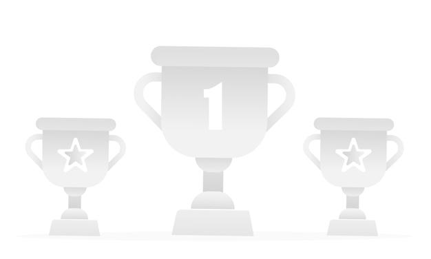 Drie semi-transparante trofeeën.