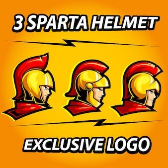 Drie spartaanse helm exclusieve mascotte voor sport- en esports-logo Premium Vector