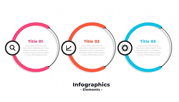 Drie stappen circulaire moderne infographic sjabloonontwerp