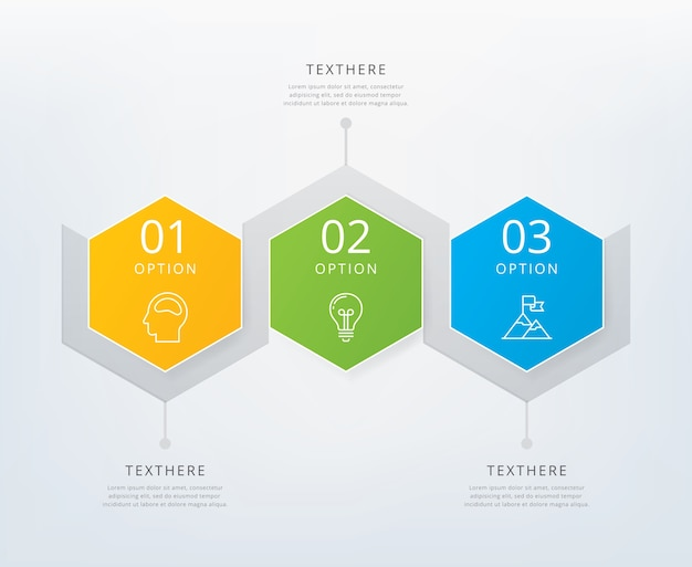 Drie stappen infographics