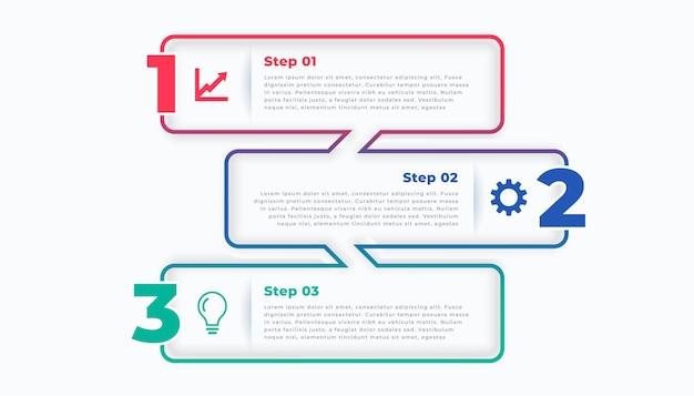 Drie stappen lijn stijlvolle infographic sjabloon