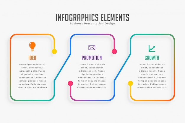 Drie stappen moderne infographic sjabloon