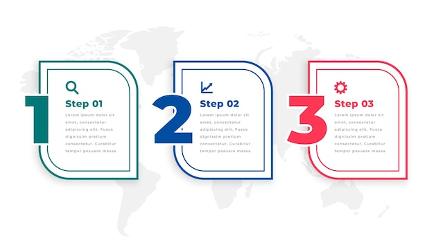Drie stappen moderne tijdlijn infographic sjabloon