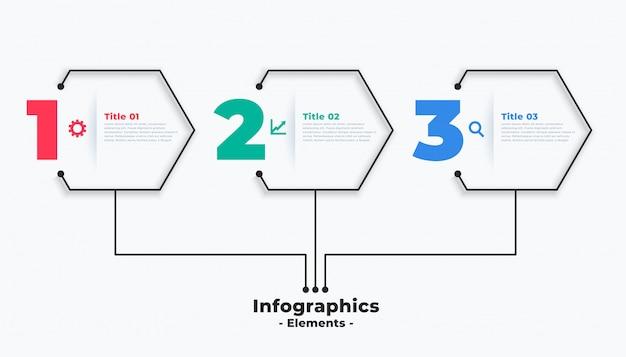 Drie stappen moderne zakelijke infographic sjabloonontwerp