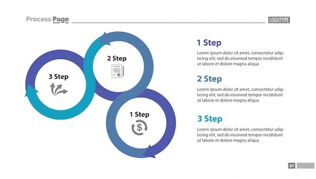 Drie stappen proces diagram glij sjabloon