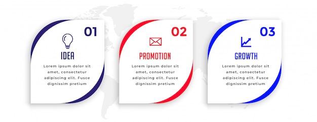 Drie stappen wijzen op het ontwerp van de infographic presentatiesjabloon