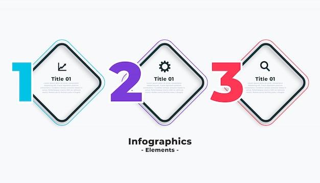 Drie stappen zakelijke infographics sjabloon