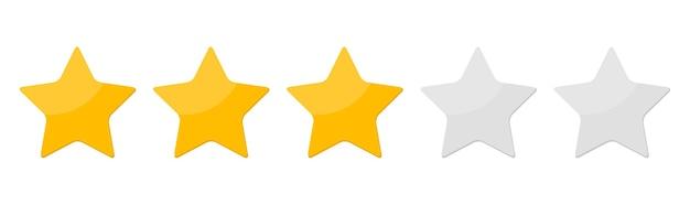 Drie sterren rangschikken banner.