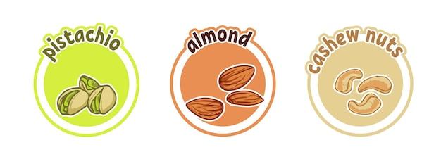 Drie stickers met verschillende noten. pistache, amandel en cashewnoten. cartoon vectorillustratie geïsoleerd op een witte achtergrond.