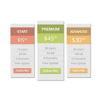 Drie tarieven. interface voor de site. ui ux vector banner voor web app.