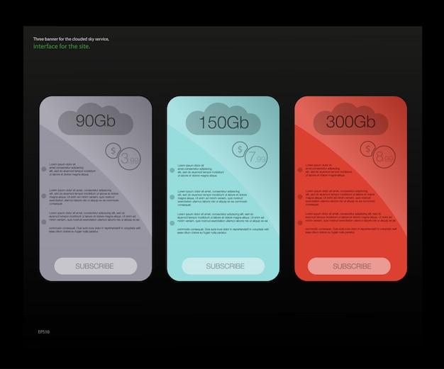 Drie tarievenbanners. web prijstabel. voor web-app. stel tarieven in. plan voor website in flat.