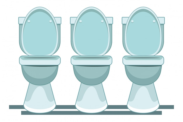 Drie toilet sanitair pictogram cartoon