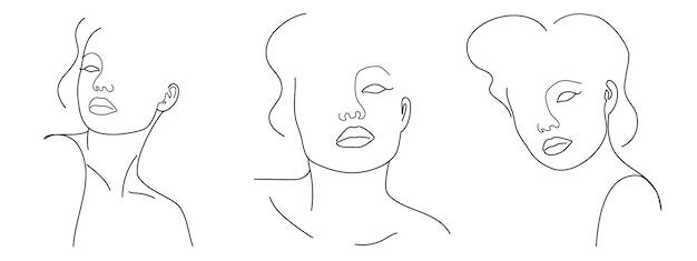 Drie trendy fashion contour tekenen lineart portretten van mooie meisjes abstract gezicht minimalisme