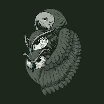 Drie uil illustratie