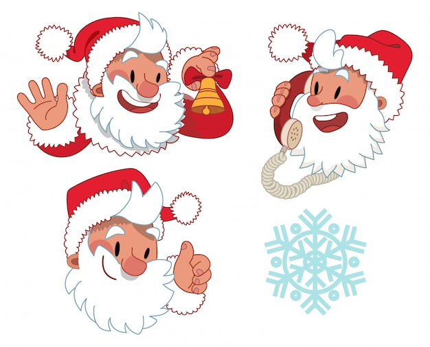 Drie uitdrukkingen van het karakter van de kerstman