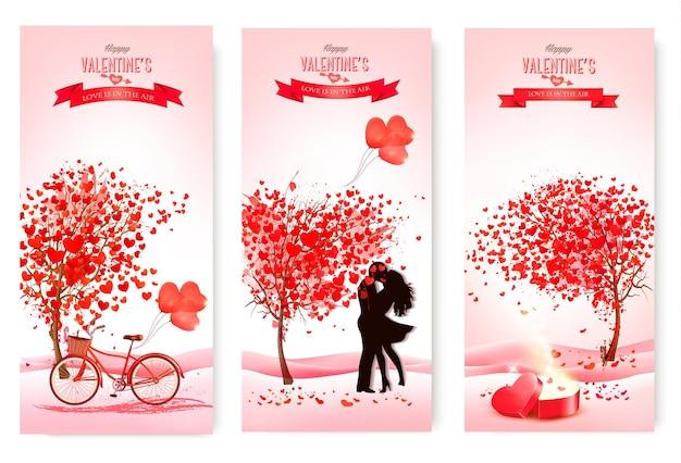 Drie valentijnsdag banners met roze bomen en harten.
