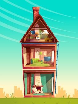 Drie verdiepingen tellende dwarsdoorsnede van het huisinterieur, cartoon met meerdere verdiepingen privégebouw met telescoop
