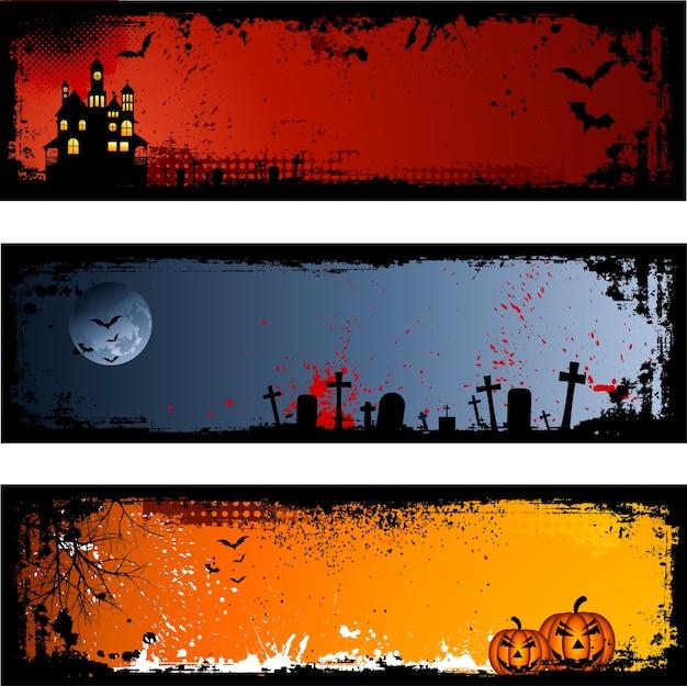 Drie verschillende griezelige halloween-achtergronden