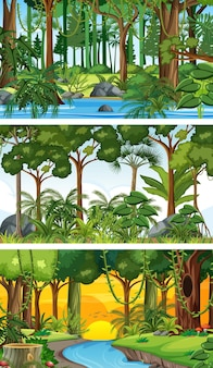 Drie verschillende horizontale natuurscènes