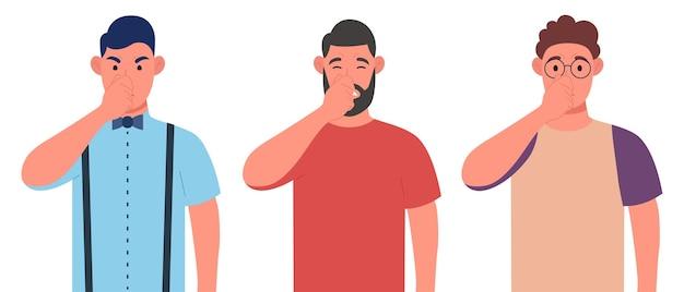 Drie verschillende mannen die vingers op de neus houden. adem bedekken met de hand voor slechte geur. karakterset. vector illustratie.