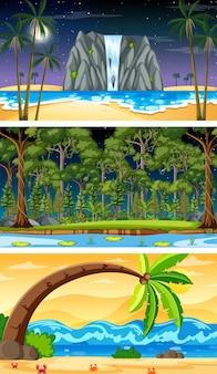 Drie verschillende natuur horizontale scènes