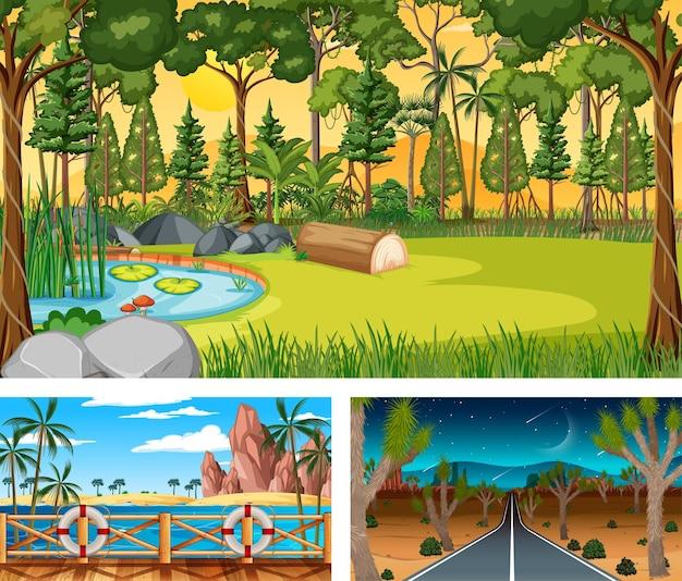 Drie verschillende natuurlandschapscènes