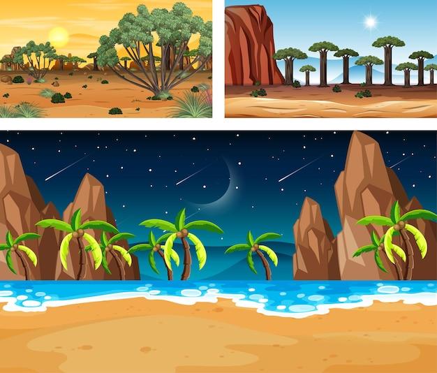 Drie verschillende natuurlandschapsscènes