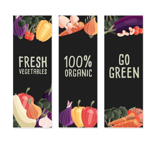 Drie verticale bannermalplaatjes met verse biologische groenten en plaats voor tekst