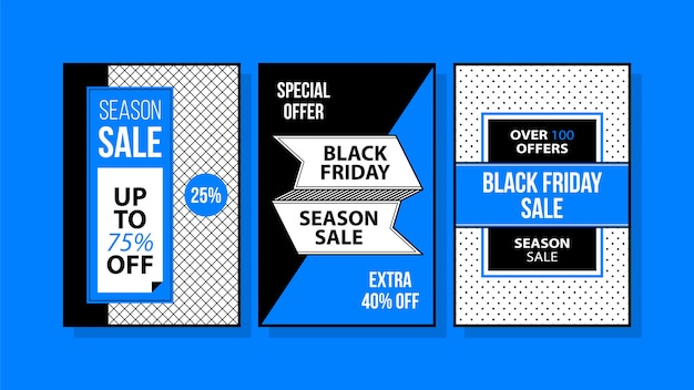 Drie verticale black friday-banners