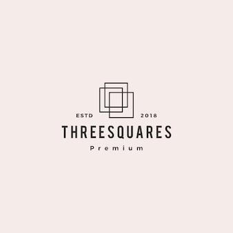 Drie vierkante 3 illustratie van het embleem vectorpictogram