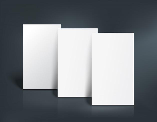 Drie visitekaartjes mockup. vector illustratie