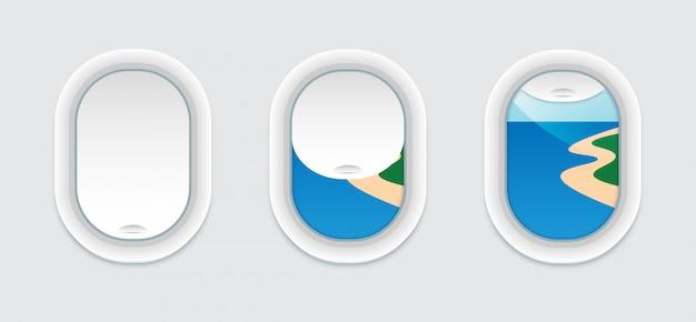 Drie vliegtuigvensters binnen mening. vector patrijspoort met uitzicht op het prachtige strand. open en gesloten vliegtuigraammalplaatje. geïsoleerd.