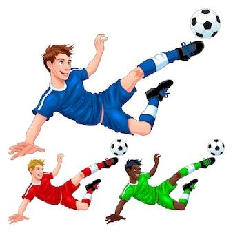 Drie voetballers met verschillende haar-, huid- en kledingkleuren