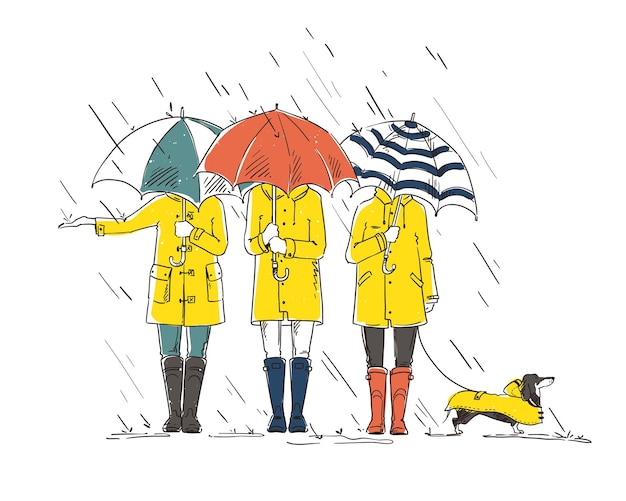 Drie vrienden met een hond die in de regen loopt met paraplu's vectorbeelden