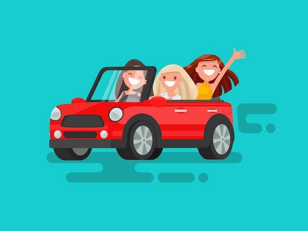 Drie vriendinnen rijden naar een optreden-illustratie