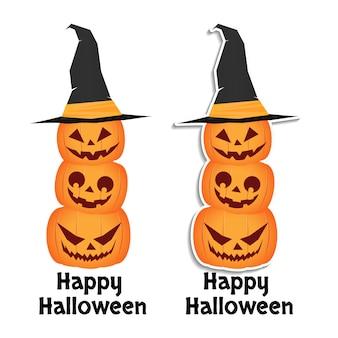 Drie vrolijke pompoenen met verschillende emoties staan op elkaar. pompoen met heksenhoed op zijn hoofd. sticker. opschrift