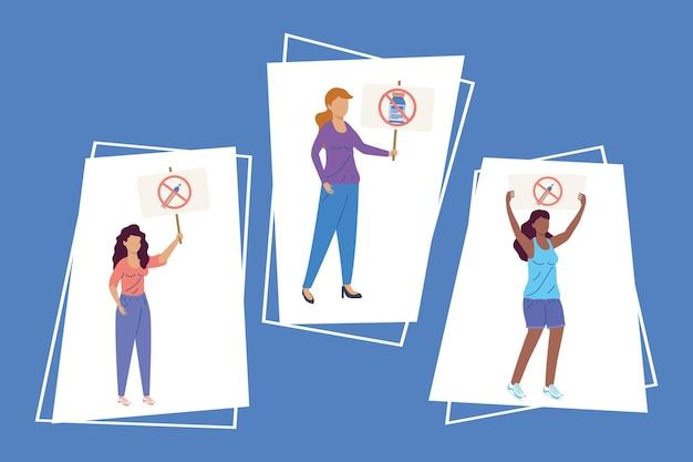 Drie vrouwen vaccin aarzeling set pictogrammen