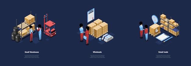 Drie warehouse conceptuele illustraties in cartoon 3d-stijl.