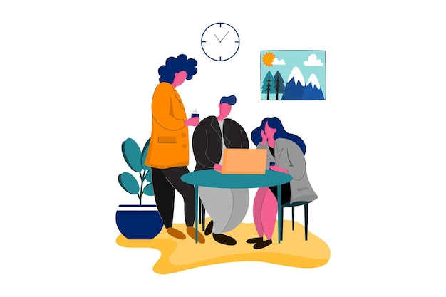 Drie werknemers discussie web illustratie