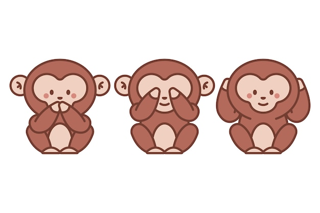 Drie wijze apen vector cartoon afbeelding geïsoleerd op een witte achtergrond.