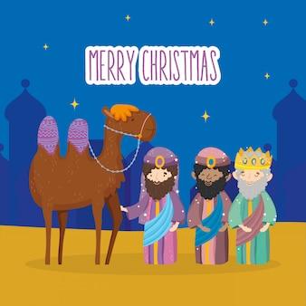 Drie wijze koningen en kameel kribbe geboorte, vrolijk kerstfeest