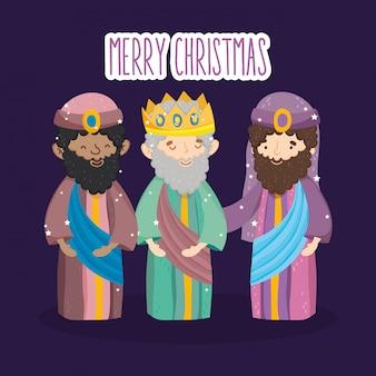 Drie wijze koningen karakters kribbe geboorte, vrolijk kerstfeest