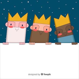 Drie wijze mannen met bord