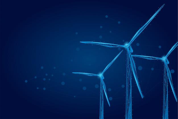 Drie windmolens bestaande uit punten, lijnen en vormen.