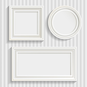 Drie witte frames set