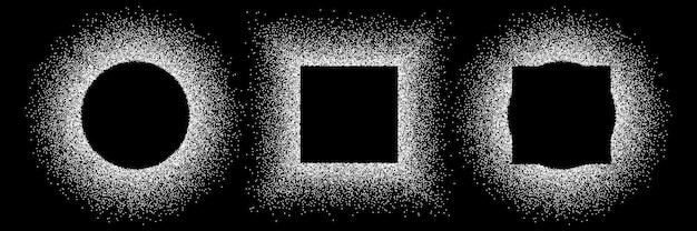 Drie witte glitter frames set geïsoleerd op zwart.