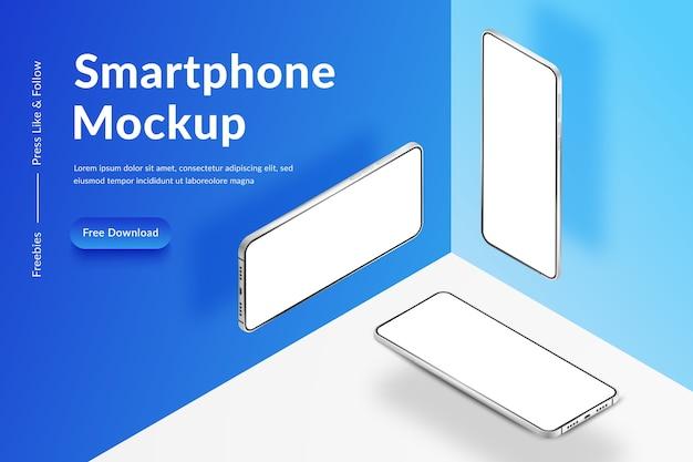 Drie witte realistische isometrische smartphones. mobiele telefoons met een leeg wit scherm. moderne mobiele telefoons sjabloon op witte en blauwe achtergrond. illustratie