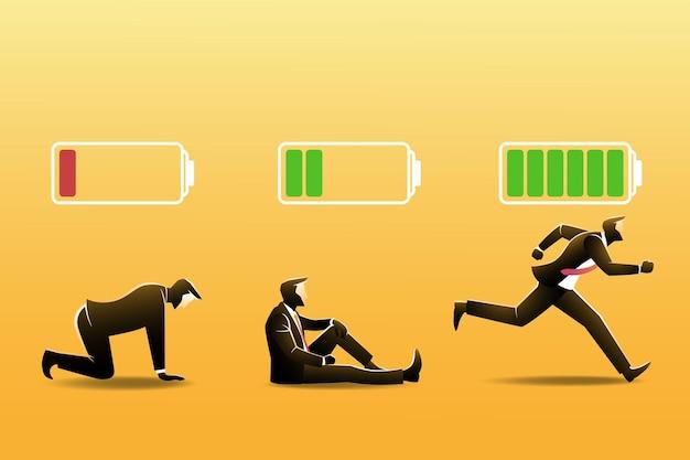 Drie zakenman met batterij-indicator.
