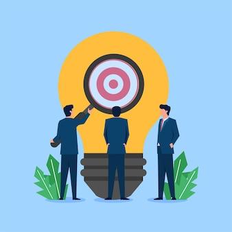 Drie zakenman vergroot op bol vinden doel